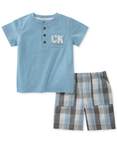 Calvin Klein 2-Pc. Henley T-Shirt & Plaid-Print Shorts Set, Baby Boys