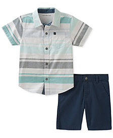 Calvin Klein 2-Pc. Striped Cotton Shirt & Shorts Set, Baby Boys