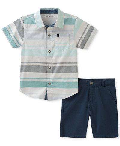 Calvin Klein 2-Pc. Striped Cotton Shirt & Shorts Set, Baby Boys