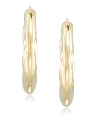 Signature Gold Diamond Accent Draped Oval Hoop Earrings in 14k Gold