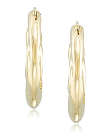 Signature Gold™ Diamond Accent Draped Oval Hoop Earrings in 14k Gold over Resin