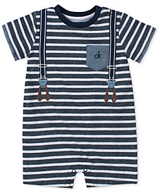 Calvin Klein Striped Suspender Romper, Baby Boys