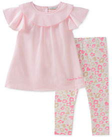 Calvin Klein 2-Pc. Ruffle Tunic & Floral-Print Leggings Set, Baby Girls