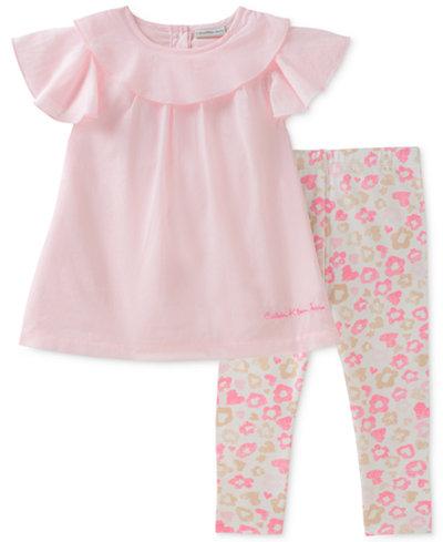 Calvin Klein 2-Pc. Ruffle Tunic & Floral-Print Leggings Set, Baby Girls