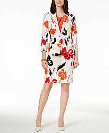 Kasper Printed Blazer, Twist-Neck Top & Printed Skirt