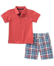 Nautica 2-Pc. Polo & Plaid-Print Shorts Set, Baby Boys