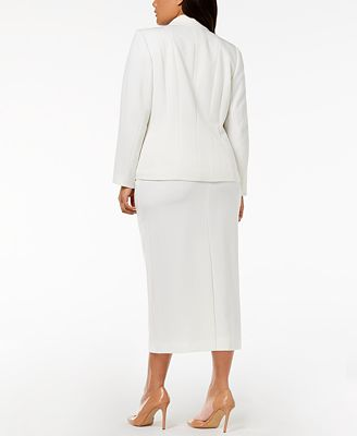 Kasper Plus Size One Button Crepe Jacket Column Skirt Wear To