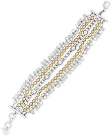 Lucky Brand Two-Tone Imitation Pearl Multi-Row Beaded Bracelet