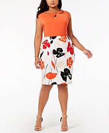 Kasper Plus Size Twist-Neck Top & Printed Skirt