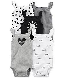 Carter's 5-Pk. Flutter-Sleeve Cotton Bodysuits, Baby Girls