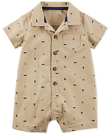 Carter's Baby Boys Graphic-Print Cotton Polo Romper
