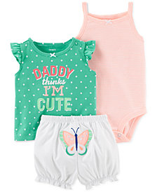 Carter's Baby Girls 3-Pc. Bodysuit, Top & Shorts Set