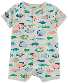 Carter's Baby Boys Fish-Print Cotton Romper