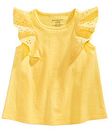 First Impressions Eyelet-Sleeve Cotton Top, Baby Girls, Created for Macy's