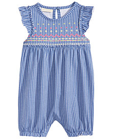 First Impressions Baby Girls Striped Flutter-Sleeve Cotton Romper, Created for Macy's