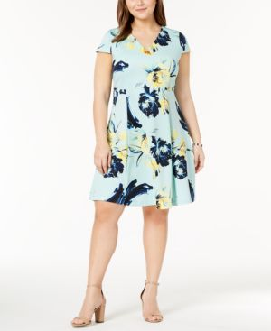 Image of Alfani Plus Size Printed Fit & Flare Dress, Created for Macy's