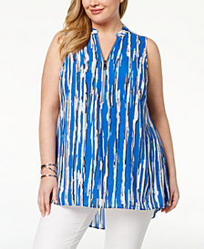 Alfani Plus Size Printed Zipper-Neck Top, Created for Macy's