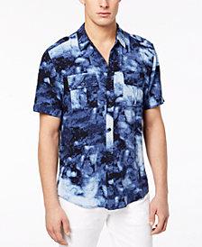 GUESS Men's Indigo Marble-Print Utility Shirt
