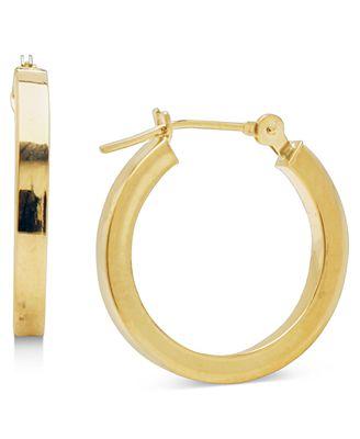 Macy S 14k Gold Earrings Polished Square Hoops Earrings Jewelry