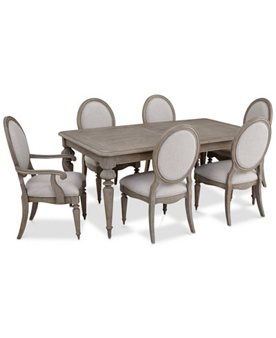 Elina Expandable Dining Furniture, 7-Pc. Set (Dining Table, 4 Upholstered Side Chairs & 2 Upholstered Arm Chairs), Created for Macy's