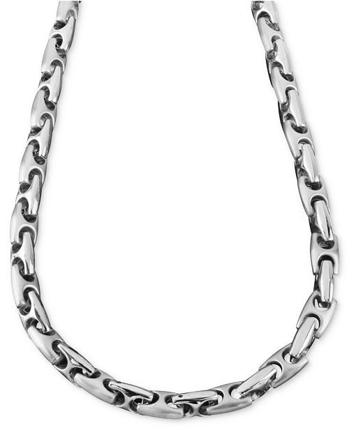 "Macy's Men's Stainless Steel Necklace, 24"" Marina Link"