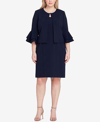 Tahari Asl Plus Size Embellished Dress Suit Wear To Work Women