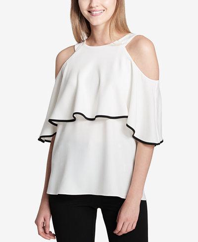 Calvin Klein Ruffled Cold-Shoulder Top