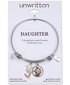 "Unwritten Cubic Zirconia ""If Daughters Were Flowers, I'd Still Pick You"" Cubic Charm Adjustable Bangle Bracelet in Two-Tone Stainless Steel"