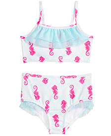 Penelope Mack 2-Pc. Ruffled Seahorse-Print Bikini, Little Girls