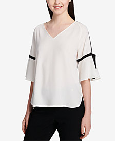 Calvin Klein Colorblocked Tie-Sleeve Top