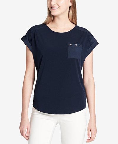 Calvin Klein Studded Pocket Top