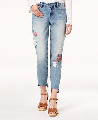 Vintage America Petite Floral-Print Skinny Ankle Jeans