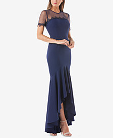 JS Collections High-Low Illusion Gown