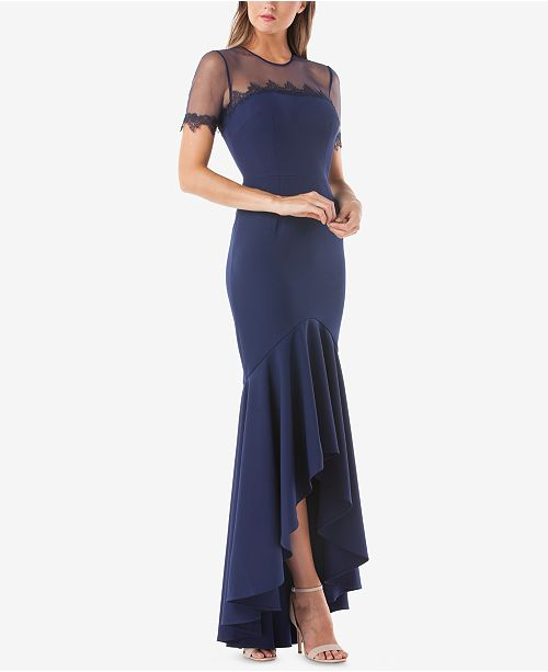 JS Collections High-Low Illusion Gown - Dresses - Macy\'s