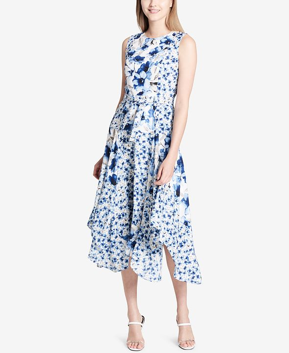 Calvin Klein Handkerchief-Hem Midi Dress