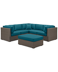 South Harbor Outdoor 6-Pc. Modular Seating Set (3 Corner Units, 2 Armless Units & 1 Ottoman), with Custom Sunbrella® Colors, Created for Macy's
