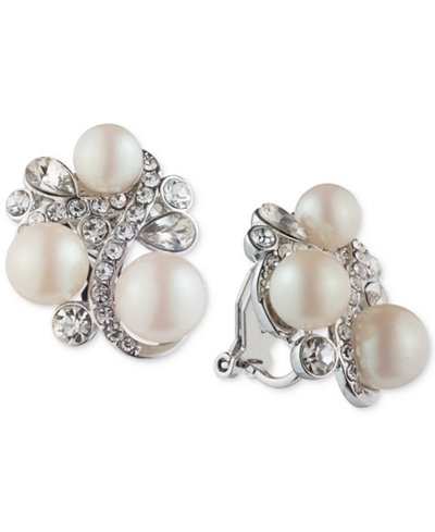 Carolee Silver-Tone Crystal & Imitation Pearl Cluster Clip-On Earrings