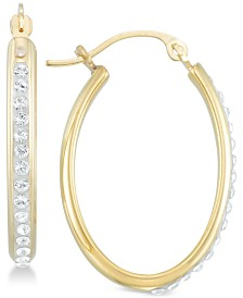 Signature Gold™ Diamond Accent Swarovski Crystal Hoop Earrings in 14k Gold over Resin