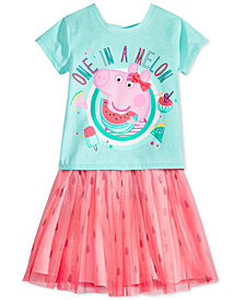 Nickelodeon's® Peppa Pig 2-Pc. Graphic-Print T-Shirt & Printed Skirt Set, Little Girls