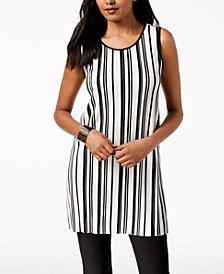 Alfani Sleeveless Striped Tunic, Created for Macy's