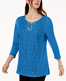 JM Collection Petite Cotton Lace-Up Crochet Top, Created for Macy's