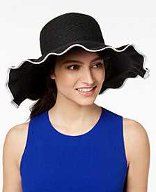Nine West Packable Ruffle Floppy Sun Hat