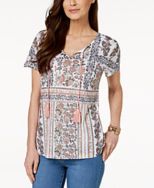 Style & Co Printed Tassel T-Shirt, Created for Macy's