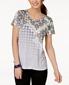Style & Co Printed Scoop-Neck T-Shirt, Created for Macy's