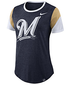 Nike Women's Milwaukee Brewers Tri-Blend Crew T-Shirt