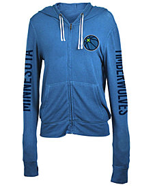 5th & Ocean Women's Minnesota Timberwolves Sweater Knit Full-Zip Hoodie