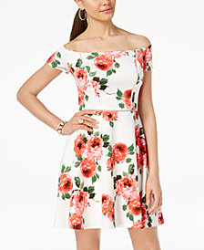 B Darlin Juniors' Printed Off-The-Shoulder Fit & Flare Dress
