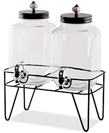 Home Essentials 1-Gallon Twin Beverage Dispenser with Ceramic Knobs