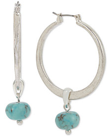 Robert Lee Morris Soho Silver-Tone Stone Charm Hoop Earrings