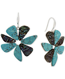 Robert Lee Morris Soho Silver-Tone Multi-Stone Flower Drop Earrings